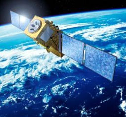 Satellites orbiting in space transmit information to Earth via electromagnetic waves