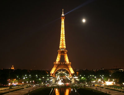 The Eiffel Tower beautifully lit at night