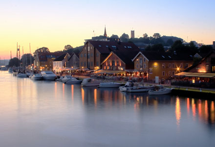 The harbor (Brygga) in Tonsberg is full of restaurants and bars