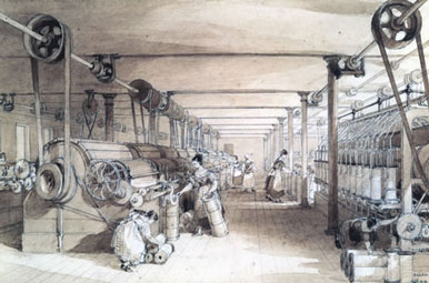 A scene of a factory during the Industrial Revolution